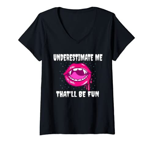 Womens Underestimate Me Thatll Be Fun Witch Halloween Gift Women V Neck T Shirt