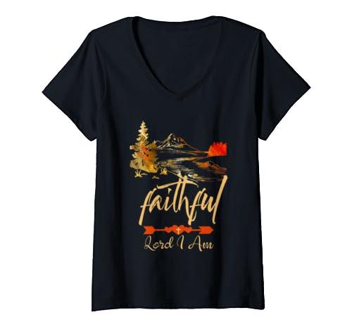 Womens Christian Faith Mountain Scene Faithful Lord I Am Men Women V Neck T Shirt
