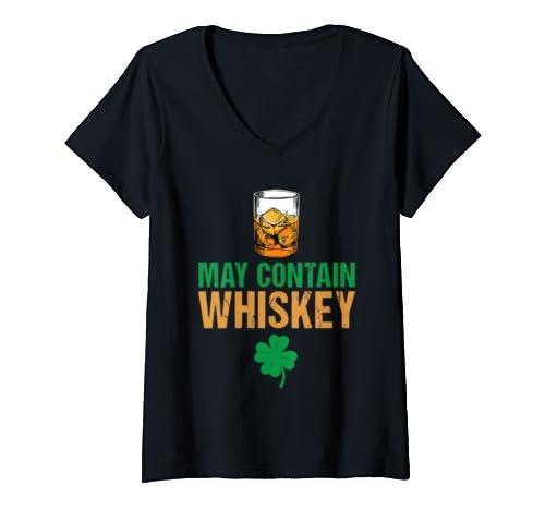 Womens May Contain Whiskey St. Patrick's Day Irish Clover  V Neck T Shirt