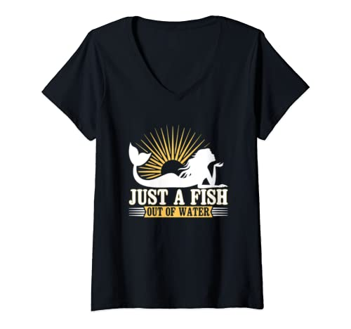 Womens Funny Mermaid Just A Fish Out Of Water  V Neck T Shirt