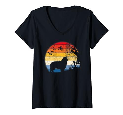 Womens Australian Shepherd In Moon Retro. Gift For Halloween V Neck T Shirt