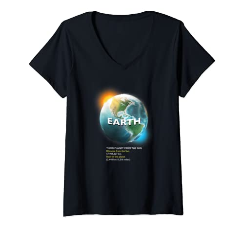 Womens Planet Earth T Shirt   Perfect Space Enthusiasts Gift V Neck T Shirt