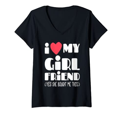 Womens I Love My Girlfriend Yes She Bought Me This Funny Valentine V Neck T Shirt