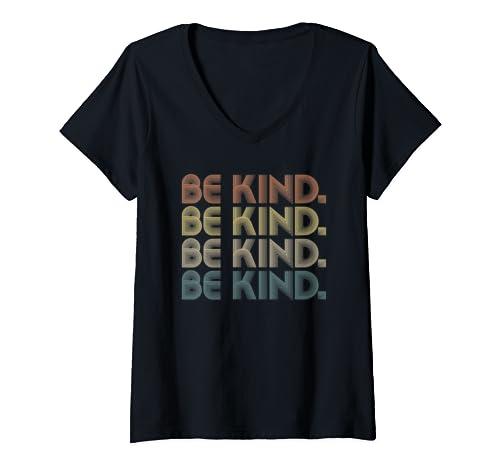 Womens Vintage Be Kind   Distressed Kindness Gift Retro Colors V Neck T Shirt
