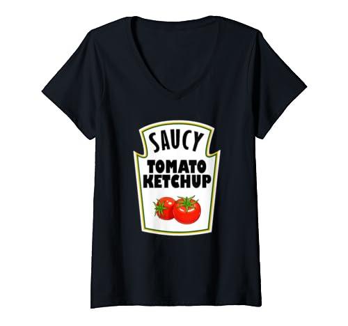 Womens Halloween Costume Ketchup Mustard Relish Matching V Neck T Shirt