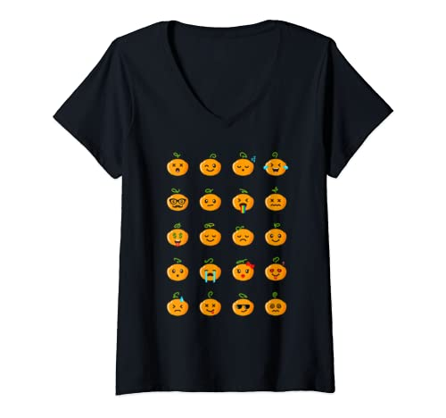 Womens Jack O' Lantern Emoji Halloween Party V Neck T Shirt