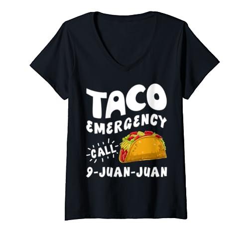 Womens Taco Emergency Call 9 Juan Juan Cinco De Mayo Women Men Gift V Neck T Shirt