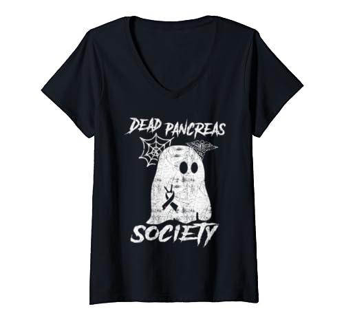 Womens Dead Pancreas Society Diabetes Awareness   Gift Halloween V Neck T Shirt