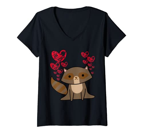 Womens Raccoon Lovely Valentine's Day Cute Hearts Romantic Gift V Neck T Shirt
