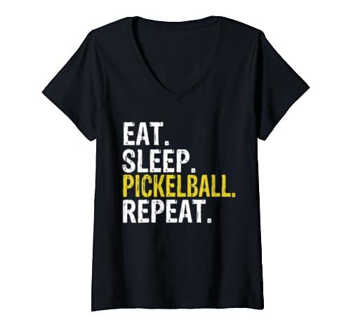 Womens Eat Sleep Pickleball Repeat Gift V Neck T Shirt