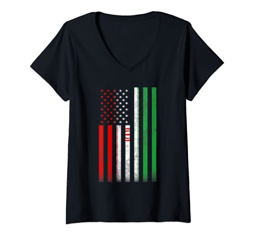 Womens Half Iranian Flag | Vintage American Inside Me Usa Gift V Neck T Shirt