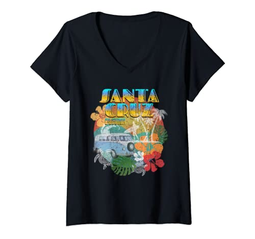 Womens Santa Cruz California Shirt Ocean Surfing Vintage Sunset  V Neck T Shirt