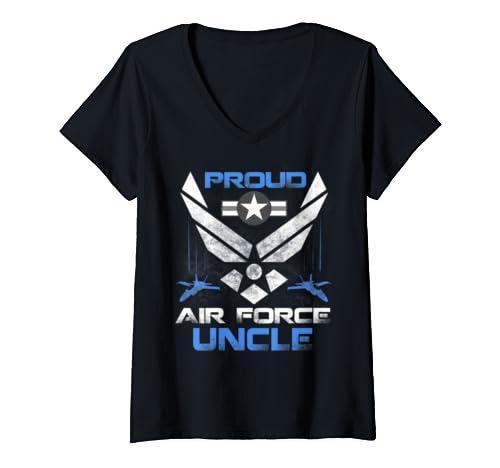 Womens Proud Air Force Uncle T Shirt Veteran Pride Tee V Neck T Shirt