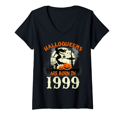 Womens Halloqueens Are Born In 1999 Halloween Birthday V Neck T Shirt