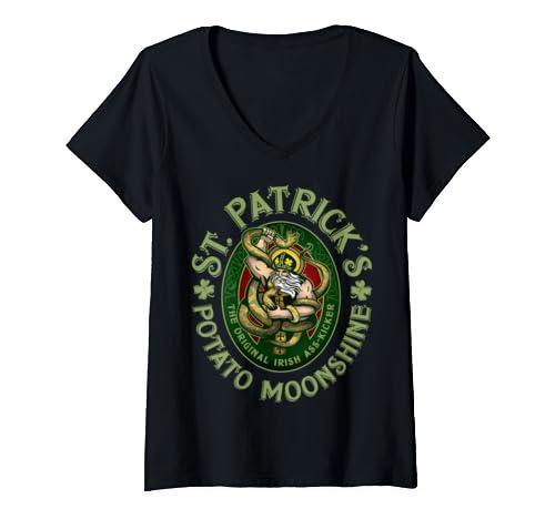 Womens Saint Patrick's Potato Moonshine St Patrick's Day V Neck T Shirt
