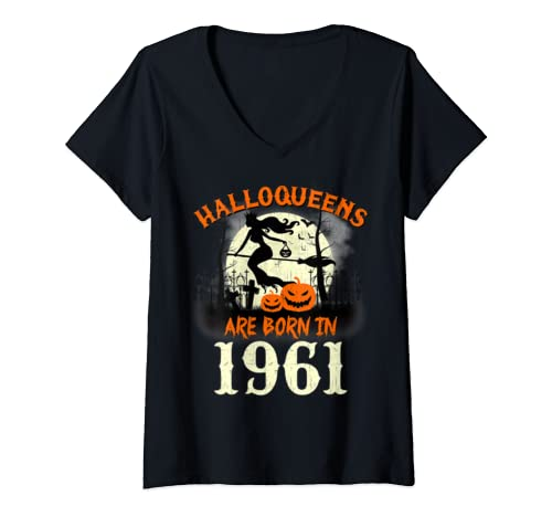 Womens Halloqueens Are Born In 1961 Halloween Birthday V Neck T Shirt