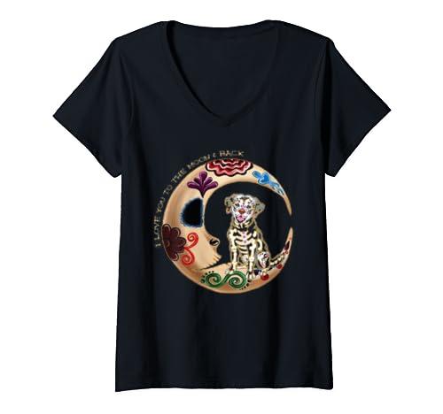 Womens Labrador Retriever Love You To The Moon And Back Dog Gift V Neck T Shirt
