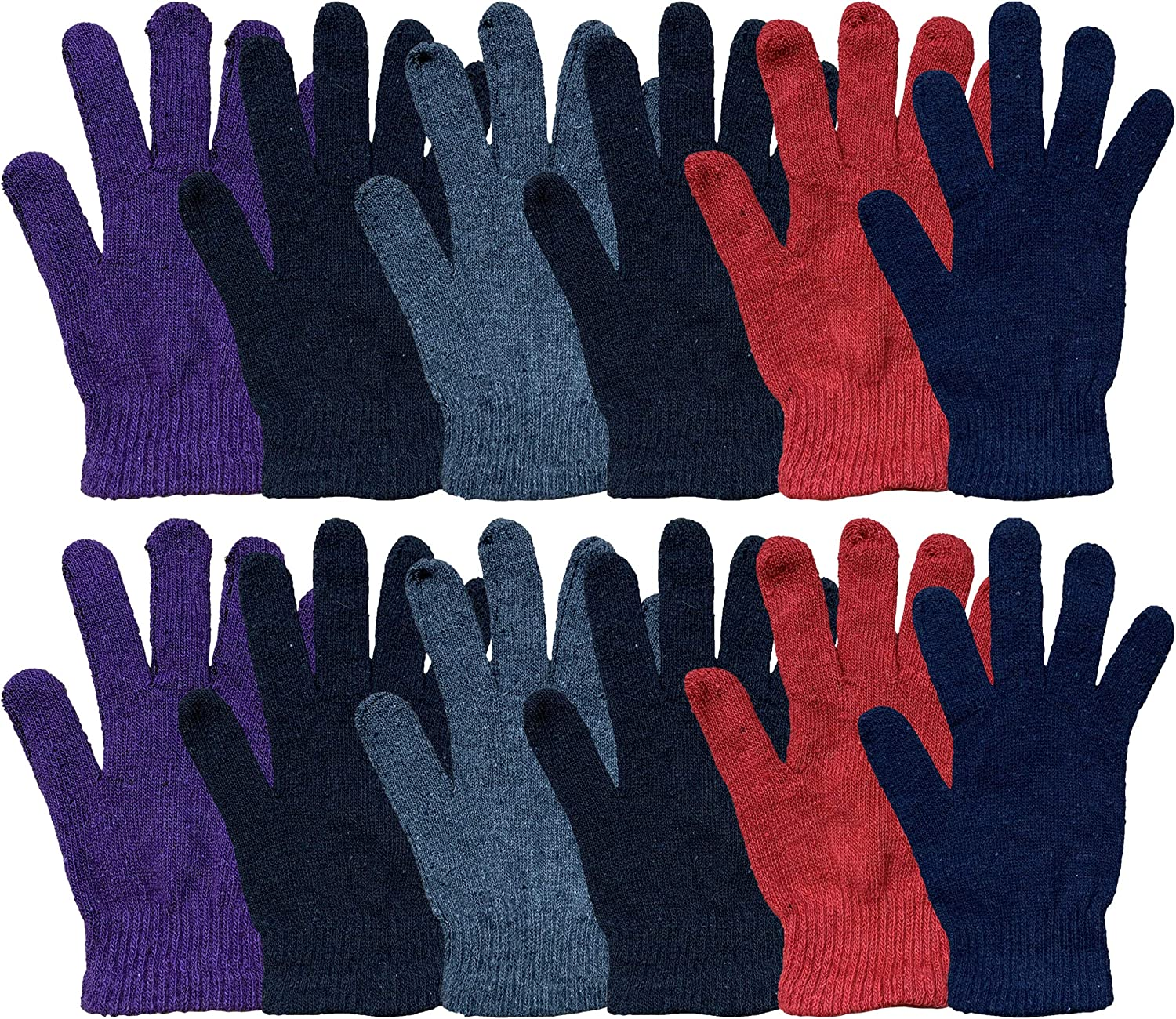 12 Pairs of Winter Gloves Mens Womens and Kids - Thermal Knit Stretchy Fuzzy Bulk Glove Colors