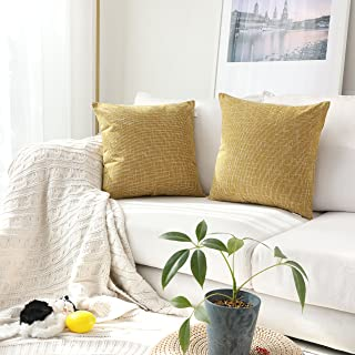 Kevin Textile Faux Linen Square 2 Tone Woven Throw Pillow Sham Cushion Case Covers for Car/Couch Use, 22-inch(2 Packs, Honey Yellow)