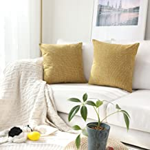 (46cm x 46cm ,2 Pieces, S-honey Yellow) - Kevin Textile Throw Cushion Cover Faux Linen Home Decorative Hand Made Pillow Ca...
