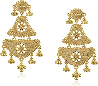 18k Yellow Gold Over Fine Silver Plated Bronze Indian Ethnic Chand Bali Drop Post Stud Earrings