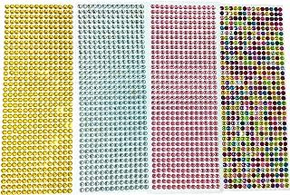 DoTebpa 2016 Pieces 6mm Colorful Bling Rhinestone Sticker Sheet Gem Diamond self adhesive for Scrapbooking Embellishments and DIY Crafts ,Wedding,Decor