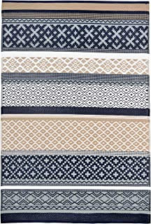 Lightweight Outdoor Reversible Durable Plastic Rug (6x9, Prime Navy/Taupe)