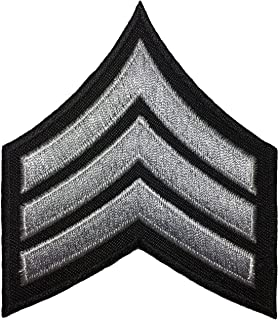 Papapatch Chevrons Sergeant E-5 Stripes US Army Rank Sew on Iron on Arms Shoulder Embroidered Applique Patch - Black and Grey (1 Piece) (IRON-E5-BKGY)