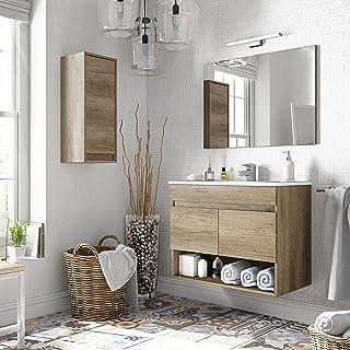Miroytengo Pack mobiliario baño con Mueble, Espejo, Lavabo de cerámica y Armario Auxiliar diseño Moderno