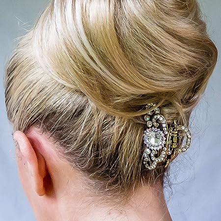 Metal Hair Claw Clip Diamante Crystal Pink Rhinestone Antiq-Gold Hair Clip clamp