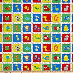 Stof Fabrics of Denmark Zoo Around Kids Blocks Fabric, Bright, Fabric by the Yard