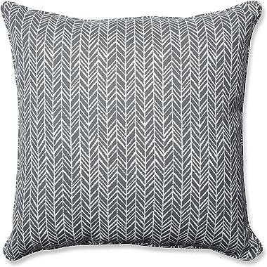 """Pillow Perfect Outdoor/Indoor Herringbone Slate Floor Pillow, 25"""" x 25"""", Gray"""