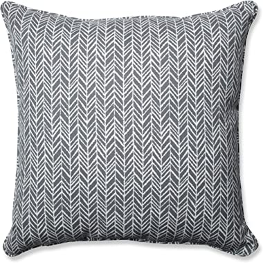 "Pillow Perfect Outdoor/Indoor Herringbone Slate Seat Cushions, 25"" x 25"", Gray, 2 Pack"