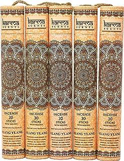 Karma Scents プレミアムお香スティック5セット ギフトパック 各ボックスにホルダー付き スティック150本 香炉5本 オレンジ