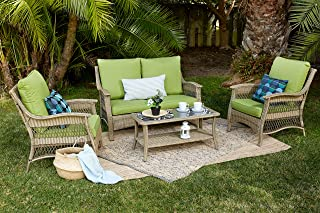 Quality Outdoor Living 65-514297 Greenport All-Weather Wicker 4 Piece Deep Seating Set, Brown Green Cushions