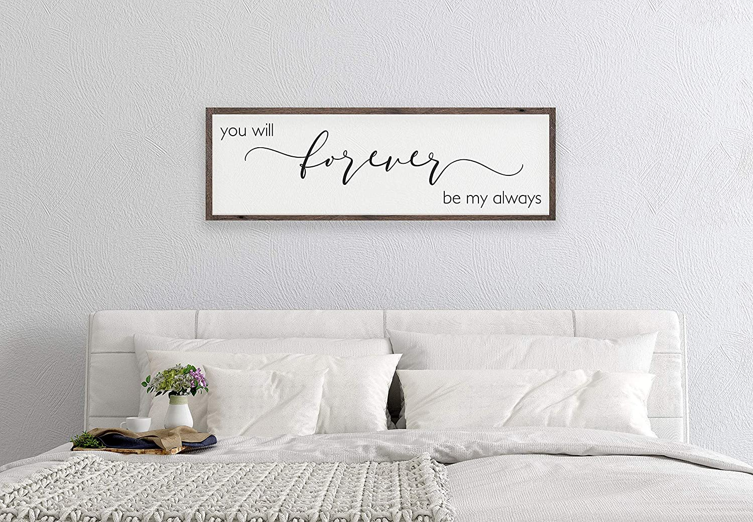 DKISEE Bedroom Wall Decor Over The Bed, You Will Forever Be My Always Sign, Bedroom Wall Decor, Bedroom Sign Above Bed, Master Bedroom Sign, Wood Sign 5.9x20 inches