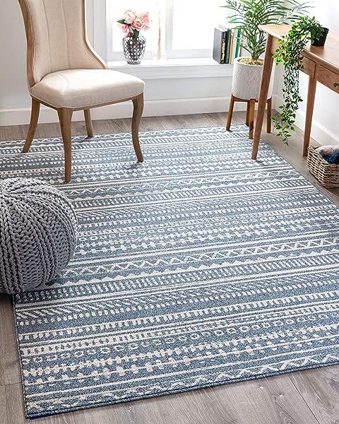 Well Woven Weston Blue Tribal Diamonda Striped Pattern Area Rug 8x11 7 10 X 10 6