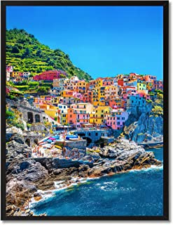 Cinque Terre Mediterranean Sea Italy Landscape Photo Canvas Print with Picture Frame Home Decor Wall Art Decoration Display Gift Ideas 28