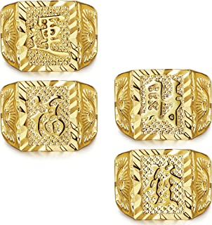 3-4 Pcs Gold Bless All Men's Gold Plated Kanji Ring Rich Luck Wealth Set Size Adjustable