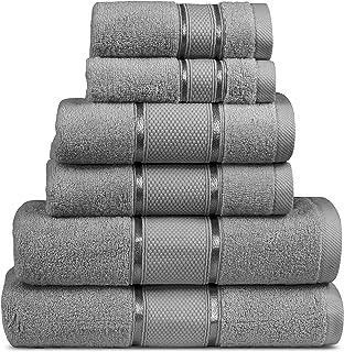 MIMAATEX 6 Pieces Towel Set Zero Twist Ultra Soft Long Staple Cotton- Set Includes-2 Bath, 2 Hand and 2 Wash Cloth (Gray)