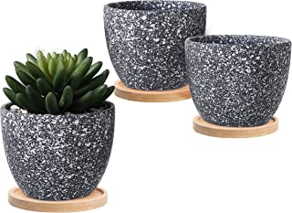 Small Dark Gray Speckled Glaze Succulent Planter Flower Pot w/Bamboo Saucers, Set of 3