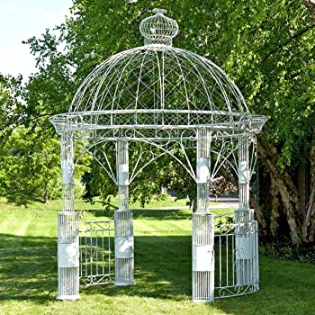 Amazon Com Zina Large Round Garden Gazebo Antique White