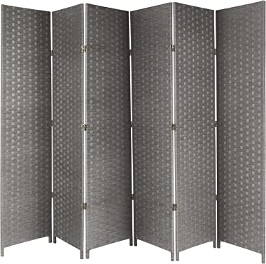 MyGift 6-Panel Woven Seagrass Room Divider, Decorative Semi-Private Screen, Gray