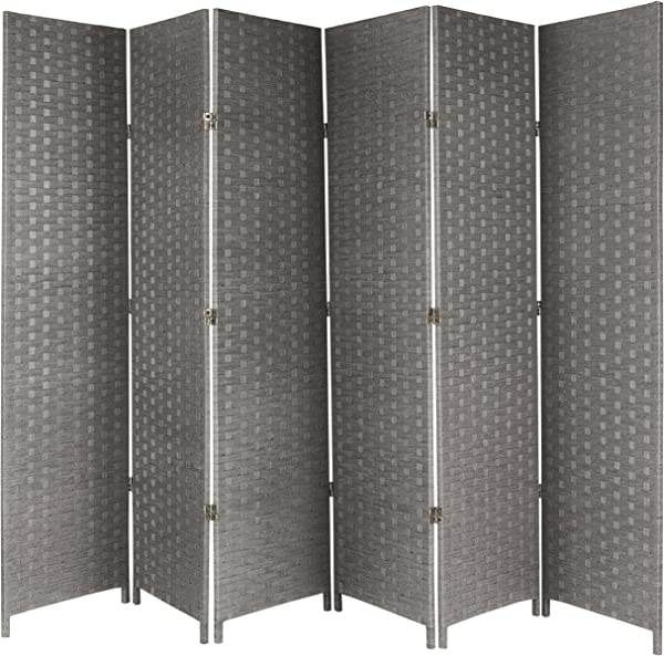 MyGift 6 Panel Woven Seagrass Room Divider Decorative Semi Private Screen Gray