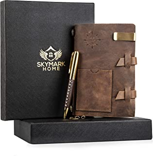 Leather Journal Handmade Travel Notebook - Medium Size 7 x 4.8 inch Vintage Antique Diary Writing Notepad for Men & Women, Refillable Lined Paper, Luxury Gift Set with Golden Classic Pen