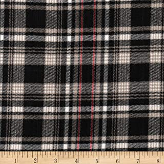 Textile Creations Windstar Twill Flannel Plaid Black/Tan/Red/White Fabric by the Yard