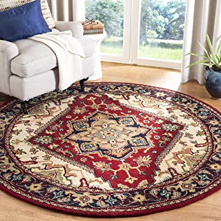 Safavieh Heritage Collection HG625A Handcrafted Traditional Oriental Heriz Medallion Red Wool Round Area Rug (8' Diameter)