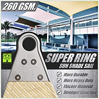 ColourTree 20` x 24` Beige Rectangle Super Ring Sun Shade Sail Canopy Structure, Super Durable Heavy Duty, Reinforced Corners, Edges & 260 GSM Permeable Fabric