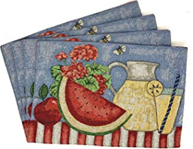 """Tache Fruity Drinks Colorful Watermelon Lemonade Decorative Spring Summer Light Blue Woven Tapestry Placemats Set of 4, 13x19"""""""
