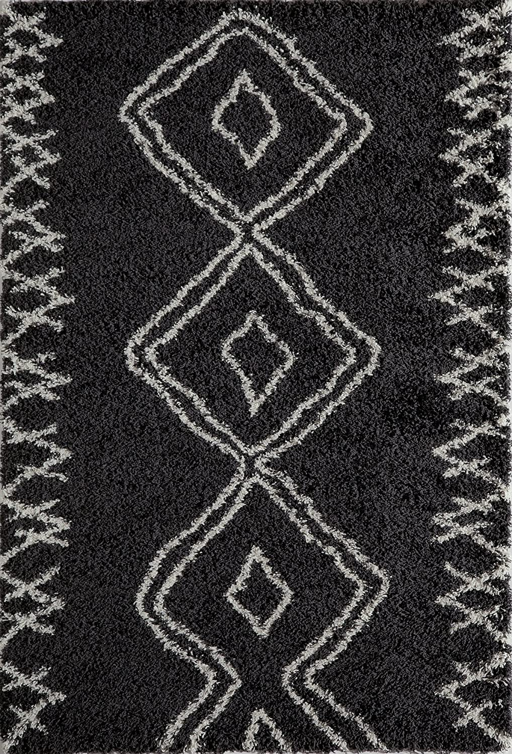 Momeni Rugs  Maya Collection Ultra Thick Pile Shag Area Rug, 2' x 3', Black